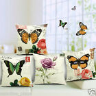 Vintage Linen Cotton Couch Sofa Cushion Cover Throw Pillow Case - BUTTERFLY