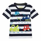 Bluezoo Kids Boys' Navy And White Striped Vehicle Applique T-Shirt