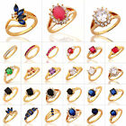 Charm Womens Rings 24K Plated Gold Gemstone Inlaid Banquet Wedding Jewelry J-R