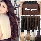 thick 16inch brazilian Real Human Hair Extensions one piece 5 clips Clip in 100g