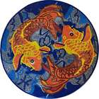 Koi Fish Marble Mosaic Art Nautical