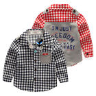 Spring Autumn Boy Baby Child Kids Red Fish Letter Freedom Long Sleeve Shirt 2-8Y