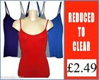 NEW Ladies Stretchy Cotton Grey Blue Red Purple Cami Vest Top 10 12 14 16 18