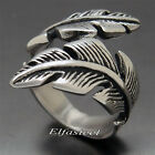 Women's Girl's Silver Leaf Solid 316L Stainless Steel Wedding Band Ring