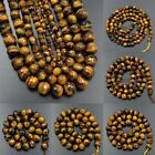 "Faceted Natural Yellow Tiger's Eye Gemstone Round Beads 15.5"" 4 6 8 10 12 14mm"