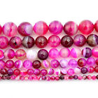 "Faceted Pink Stripe Agate Gemstone Round Beads 15.5"" 4mm 6mm 8mm 10mm 12mm 14mm"