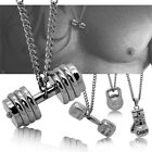 Necklace Pendant Steel Curb Chain Silver Dumbbell Weight Crossfit Fitness Charm