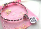 Pink and white mixed braid bracelet with charm choose from many in gift bag