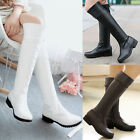 Women's Mid Calf Knee High Boots Low Heels Riding Boots PU 3colors US4.5-10.5