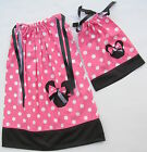 Minnie Mouse Applique Girl & Doll Dress Pink Red Cotton SZ 4 6 8 10 12 Summer
