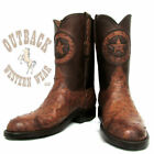 Black Jack Men's Burnished Cigar Full Quill Ostrich Roper Cowboy Boots BCG224