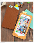 3D Cartoon Biscuits Bear Soft Silicone Case Back Cover For Apple iPhone