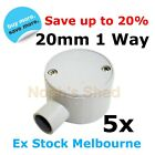 5 X BONZA 1 WAY Entry Junction Box Shallow Round Conduit Electrical Cable 20MM