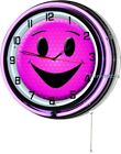 """Pink Smiling Face 18"""" Purple Double Neon Wall Clock Happy Smiley Room Decor"""