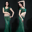 New Sexy 2016 Slim Stage Women Belly Dancing Costumes 2Pics Top& Long Skirt M L