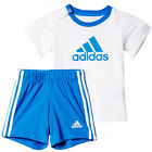 adidas Infant Kids Boys Summer Easy Outfit Set Pack White/ Blue