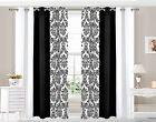 Eyelet Ring top Curtains Damask 3 Tone fully lined Black & White