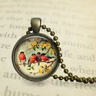 "Birds on Branch Glass Round Dome Metal Bezel Pendant 1"" 25mm with Ball Chain"