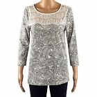 Ex F&F Paisley Print Tunic Top Lace White Navy Florence and Fred Size 10 12 NEW