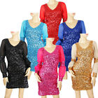 Girl Lady Evening&Cocktail Party Dance Wear Long Sleeves Sequin Club Dress 612