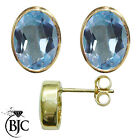 BJC® 9ct Yellow Gold Natural Blue Topaz Oval Stud Earrings 3.00ct Studs
