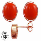 BJC® 9ct Rose Gold Natural Peach Coral Oval Stud Earrings 3.00ct Studs