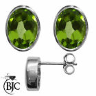 BJC® Sterling Silver Natural Peridot Oval Stud Earrings 3.00ct Studs Brand New