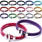 New Unisex Stainless Steel & Genuine Leather Interlocking Bracelet Great Gifts