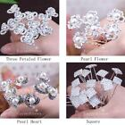 Crystal Diamante Pearl Flower Hair Pins Clip Jewelry Bridal Prom Party&Wedding