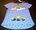 NWT Despicable Me Girls Size L or XL Purple Rainbow Shirt Minions Short Sleeves