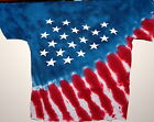 USA STARS & STRIPES RED, WHITE & BLUE YOUTH TIE DYE T-SHIRT NEW