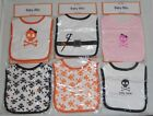 Little Milo Skulls Crossbones Pirate Baby Infant Bibs Black White Pink Orange