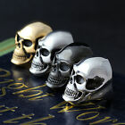 Men's Large Skull Stainless Steel Biker Ring Silver Black Gold Polished Brushed