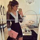 The Summer New Black Lace Dress  White V Neck & Cuffs Without accessories