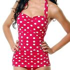 Esther Williams Style Retro 50s Pin Up Rockabilly 1 Piece Red Polka Dot Swimsuit