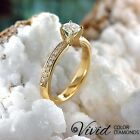 Women Diamond Engagement Ring 14k Solid Gold 0.86 TCW SI/G-H Size 7 Enhanced
