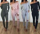 Women's Off The Shoulder Long Sleeve Rip Knee All In One Ladies Jumpsuit 8-14