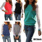 Womens Lace Long Sleeve T Shirt Blouse Crew Neck Ladies Casual Loose Tee Tops