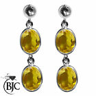BJC® Sterling Silver Natural Citrine Oval Double Drop Dangling Studs Earrings