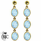 BJC® 9ct Yellow Gold Natural Blue Topaz Oval Triple Drop Dangling Studs Earrings