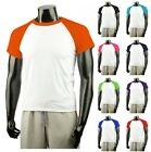 New Raglan Baseball Jersey ShortSleeve Cotton T-Shirt Tops All Colour.(Sz) XS~XL