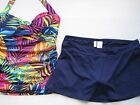 NWT Anne Cole Rainbow Palm Skirted Tankini Underwire 36 38 B/C Cup