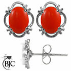 BJC® 925 Sterling Silver Natural Peach Coral Single Stud Earrings Studs 1.50ct