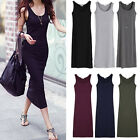 Stretchy Bandage Fitted Basic Midi Sleeveless Tank Dress Solid Summer S-3XL