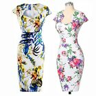 Slim Women Ladies Floral Print 50s 60s Rockabilly Pinup Swing Prom Pencil Dress