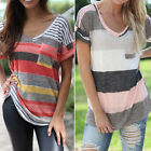 Women's T-shirts Striped Print Irregular Short Sleeve #G Female Tops with Pocket