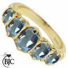 BJC® 9ct Yellow Gold Victorian / Gypsy Style Graduating Blue Topaz 5 Stone Ring