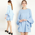 New women's fashion trumpet sleeves A line Casual Dress Party dress
