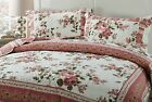 DaDa Bedding Bohemian Cottage Dusty Roses Floral Quilted Coverlet Bedspread Set image