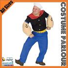 Mens Popeye Sailor Pirate Disney Cartoon New Fancy Dress Costume All Sizes